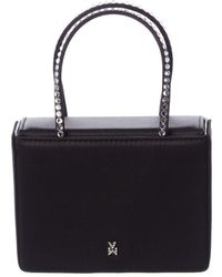 AMINA MUADDI Super Amini Gilda Crystal Embellished Satin Handbag - Black