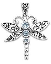 Samuel B. Jewellery Silver Blue Topaz Dragonfly Pendant - Metallic