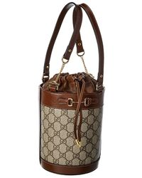 Gucci Horsebit 1955 Small GG Supreme Canvas & Leather Bucket Bag - Brown