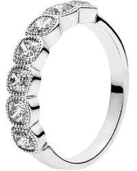 PANDORA - Silver Cz Alluring Cushion Ring - Lyst