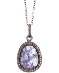 Adornia - Fine Jewelry Rhodium Plated Silver 5.80 Ct. Tw. Diamond & Tanzanite Necklace - Lyst