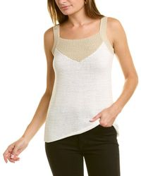 Forte Textured Colorblocked Tank - White