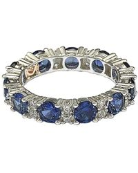 Suzy Levian Silver Diamond & Sapphire Eternity Ring - Metallic