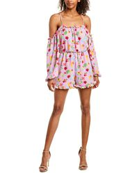 Romeo and Juliet Couture Cold-shoulder Floral Romper - Pink
