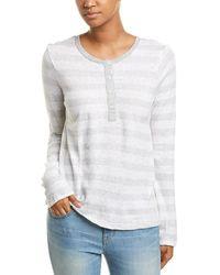 Splendid Striped Linen-blend Henley Shirt - Grey