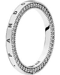 PANDORA Jewellery Silver Cz Signature Hearts Of Jewellery Ring - Metallic