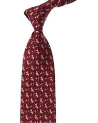 Ferragamo Dog & Butterfly Print Silk Tie - Red