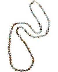 Chan Luu 18k Over Silver Gemstone & 10-10.5mm Pearl Long 38in Necklace - Metallic