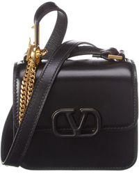 Valentino Vsling Micro Leather Crossbody - Black
