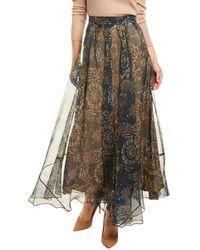 Brunello Cucinelli Silk Maxi Skirt - Brown