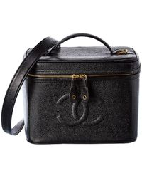 Chanel Black Caviar Leather Cc Vanity