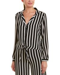 Lavender Brown Striped Top - Black