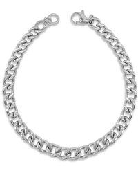 Adornia - Rhodium Plated Cuban Chain Bracelet - Lyst