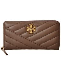 Tory Burch Kira Chevron Leather Zip Continental Wallet - Brown