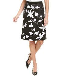St. John Floral Jacquard A-line Skirt - Black