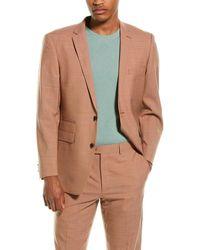 Vince Camuto Light Orange Solid Two Button Notch Lapel Slim Fit Suit