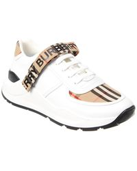 Burberry Vintage Check Logo Detail Leather Trainer - White
