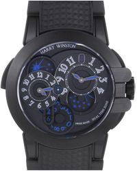 Harry Winston Ocean Dual Time Automatic Opalien Dial Watch - Black