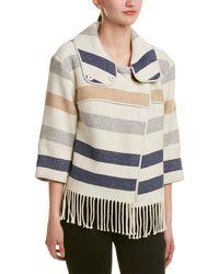 Karen Millen Striped Wool-blend Poncho Cape - Natural