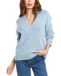 Vince V-neck Wool-blend Sweater - Blue