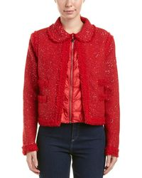 Moncler Padded Wool-blend Boucle Jacket - Red
