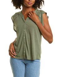 Nanette Lepore V-neck Flutter Sleeve Top - Green