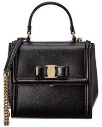 Ferragamo Vara Bow Shoulder Bag - Black