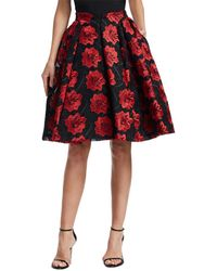 Zac Posen - Floral Embroidery Flare Skirt - Lyst