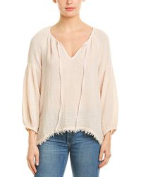 Three Dots Double Gauze Peasant Top - Natural