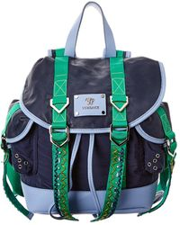 Versace Leather Backpack - Blue