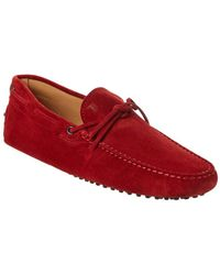 Tod's Gommino Suede Driving Shoe - Red