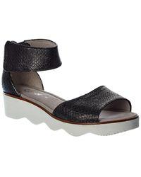 Gabor Leather Wedge Sandal - Black