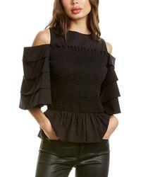 Gracia Smocked Top - Black
