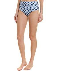 Splendid Breaking Plaid High-waisted Bikini Bottom - Blue