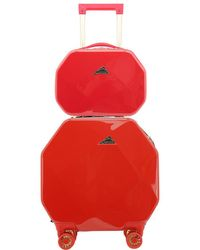 Kensie Gemstone Octagon 2pc Spinner And Cosmetic Case - Red