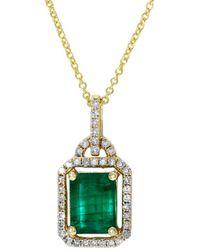 Effy Fine Jewellery 14k 1.58 Ct. Tw. Diamond & Emerald Pendant - Green