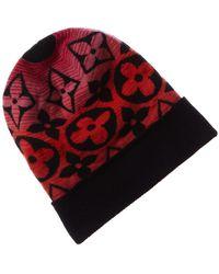 Louis Vuitton Black & Multicolour Monogram Knit Hat - Red