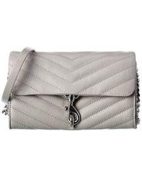 Rebecca Minkoff Edie Leather Wallet On Chain - Grey
