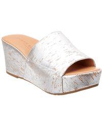Gentle Souls Forella Cork Wedge Sandal - Metallic