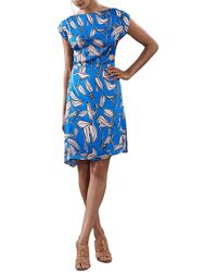 Reiss Sarah Blue Print Midi Dress
