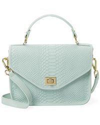 Gigi New York Embossed Leather Messenger Bag - Blue