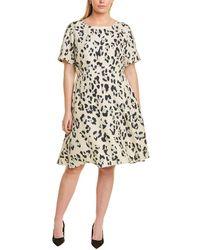 Lafayette 148 New York Plus Leopard Print Silk A-line Dress - Blue