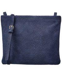 Gigi New York Python-embossed Leather Crossbody - Blue