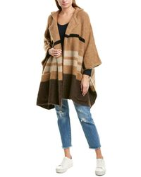 James Perse Patchwork Hooded Mohair & Wool-blend Poncho - Brown