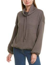 Max Studio Waffle-knit Pullover - Grey