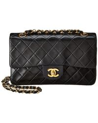 1f248d721609 Chanel Black Quilted Patent Leather Sideways Flap Bag in Black - Lyst
