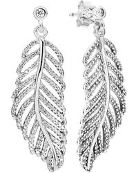 PANDORA Silver Cz Shimmering Feathers Earrings - Metallic
