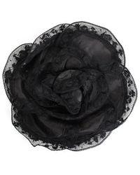 Chanel Black Chiffon Lace Camellia Corsage Brooch