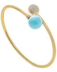 Marco Bicego Africa 18k 0.50 Ct. Tw. Diamond & Turquoise Cuff Bracelet - Blue