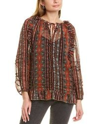 Lucky Brand Chiffon Printed Peasant Top - Red